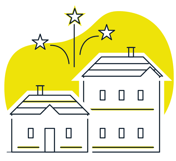 Ilustración de casas con fuegos artificiales